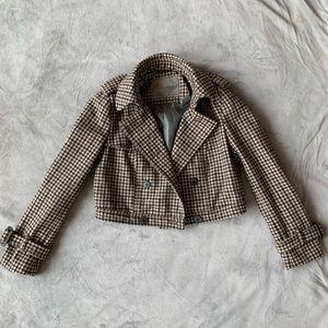 Zara cropped wool jacket in brown